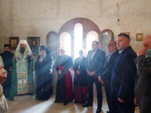 Додик са патријархом Порфиријем у Манастиру Јасеновац